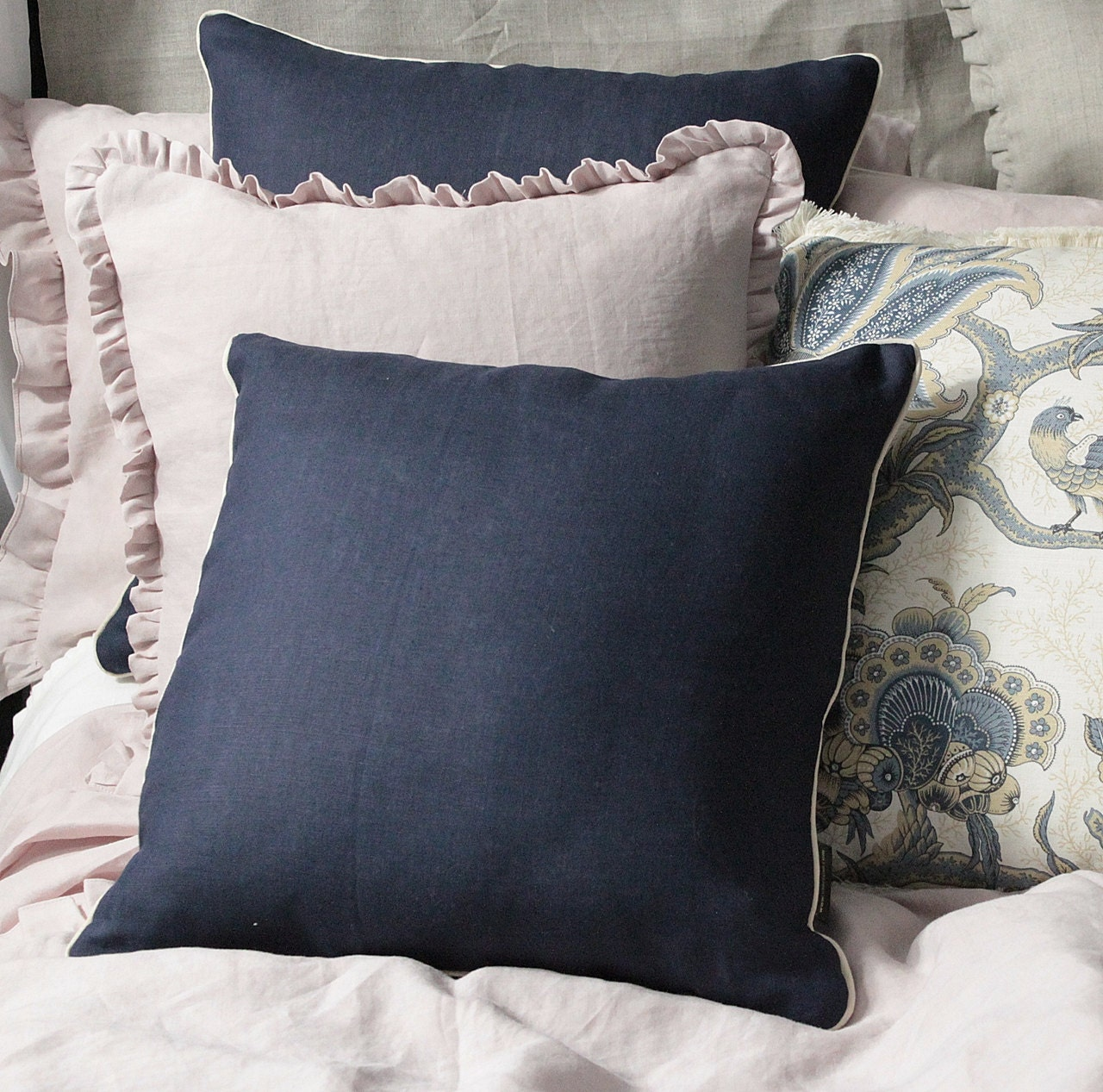 Decorative Pillow Trim : Linen Navy pillow case with golden trim decorative pillow