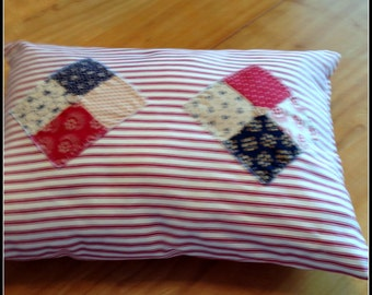 Red & White Appliqued Pillow