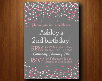 Birthday Party Invitation, girl birthday invitation, girl birthday party invite, pink and peach invitation, confetti invitation (031)