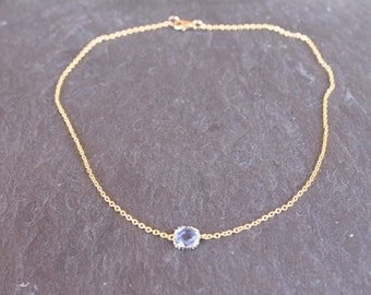 Gold tiny chain necklace blue crystal, little golden chain, chain blue bead,