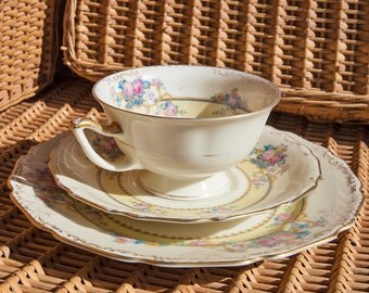 lovely 40's/50s gold floral trio