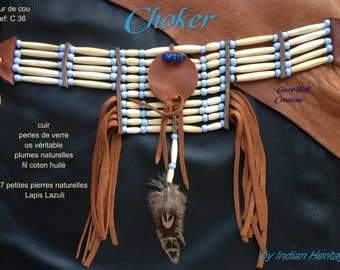 Native American Indian choker with bones and beads - blue sky - ref: C 36