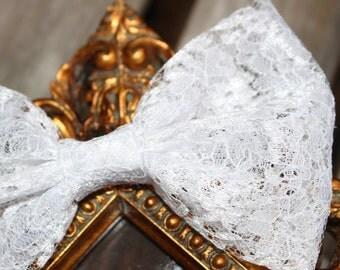 LACE Fabric White Hair Bow- White Hair Bow - Lace Hair bow - Fabric Bow- Wedding Bow