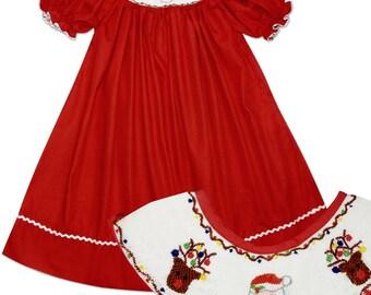 Christmas Santa Bishop Smocked Dress
