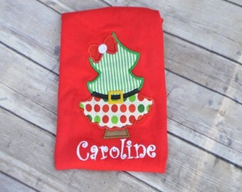 Christmas Monogrammed Tree Dress Applique Onesie or Shirt