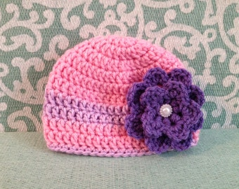 Crochet hat, crochet beanie, crochet baby hat, crochet toddler hat, crochet hat with flower, baby hat, baby beanie, hat with flower