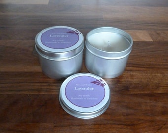Lavender essential oil  soy candle tin