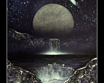 Moon Rising over Waterfalls