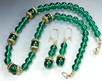 Teal Green Czech Glass Bead Necklace and Earrings Set