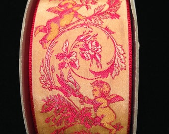Vintage 1 1/2 Inch Wide 1950s French Jacquard Red and Orange Cherubs Ribbon