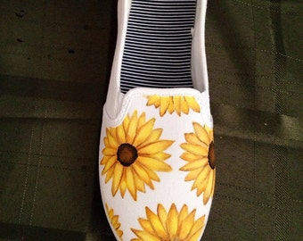 Sunflower hand painted shoes!