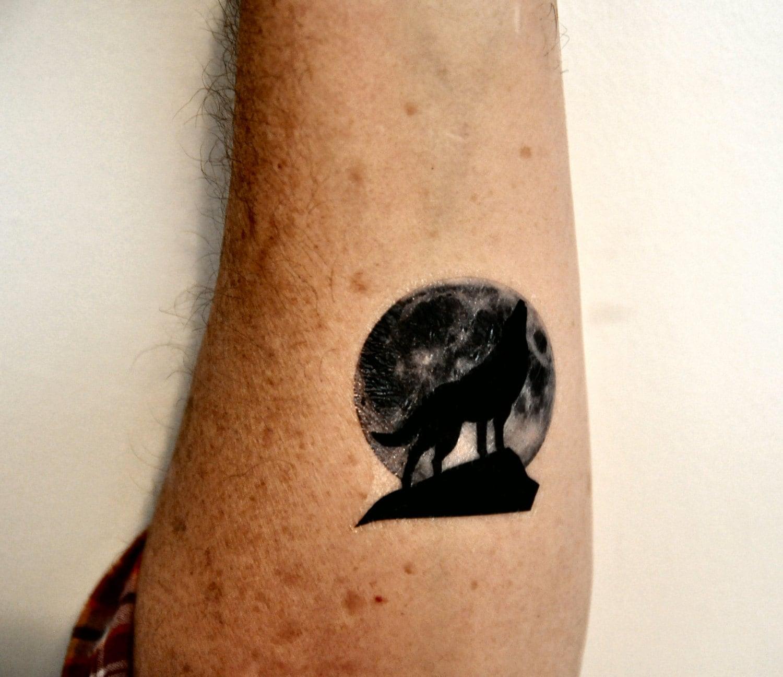 Wolf Temporary Tattoo Moon Temporary Tattoo by ...
