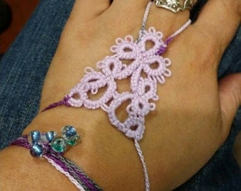 Fantasy needle tatted hand cuff/bracelet