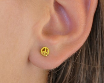 Peace Sign Earrings, Gold Peace Sign, 925 Sterling Silver, Peace Sign Studs, Tiny, Solid Gold Peace Sign