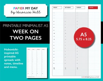 A5 Filofax - Printable Week on Two Pages - Japanese Grid / Graph Design