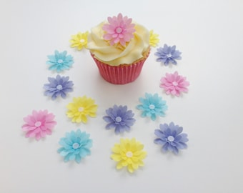 14 Edible Pastel Mix 3D Wafer Flowers Cupcake Toppers Precut