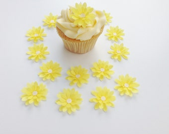 14 Edible Yellow  3D Wafer Flowers Cupcake Toppers Precut