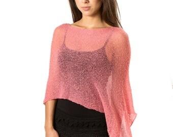 Cherry Blossom Pink #118,  Bali Poncho Sweater, women's lightweight poncho, women's resort wear, Knit poncho cape, Women's Knit Mesh Poncho