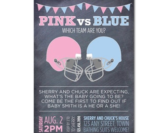 Baby Gender Reveal Party 5x7 Invitation - Pink vs Blue - Chalkboard and Helmets - Printable and Personalized