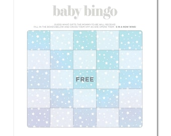 INSTANT DOWNLOAD - Printable Baby Shower Baby Bingo Game - 8.5x8.5 - Twinkle Stars