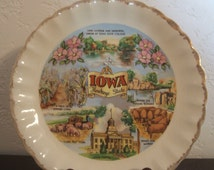 Vintage Collectible Souvenir Plate Featuring The State Of Iowa