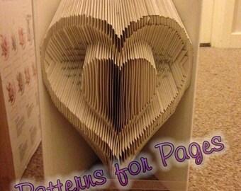 Book folding pattern for a HEART INSIDE A HEART