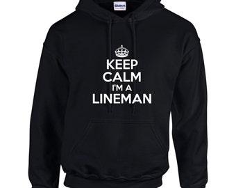 Keep Calm I'm A Lineman Mens Hoodie
