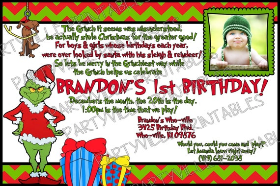 how the grinch stole christmas birthday invite