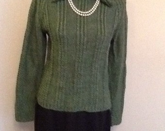 Hand knitted bottle green jumper