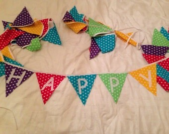 Customised handmade fabric flag bunting