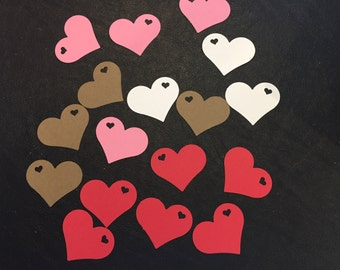 100 Heart Die Cut, Small Heart Within Big Heart, Confetti, Valentine's Day, Love, Bridal Shower, Wedding, Scrapbooking, Various Colors