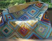 """Handmade Quilt, Throw Quilt, Lap Quilt, Cot Quilt ,Patchwork Batik Quilt, Modern Log Cabin Quilt, Kaffe Fassett pattern,58"""" x 78"""""""