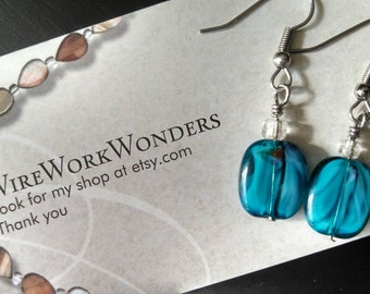 Blue wire wrapped dangle earrings