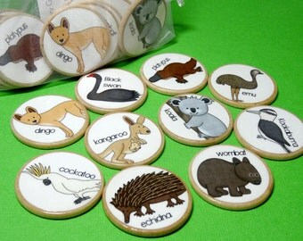 Australian animals wooden memory game, Wooden toy, educational game, montessori wooden game, teacher resource, home schooling game