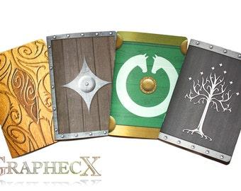 Fan-made Gondor, Rohan, Elven, Dwarf shield inspired personalized journal notebook
