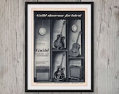 1962 GUILD GUITAR & AMP Music Advertisement - 1960s Vintage Advertising - Musical Instruments - Wall Decor Art Print - 60s Retro Ad Musician