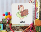 Package Girl Vintage Style Greeting Card (free shipping)