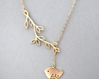 Gold filled, branch, bird, necklace