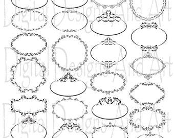 Round wedding clipart frames, Circle frame, Digital clip Art Frames, Calligraphy Clip Art, Victorian Design Clip Art,