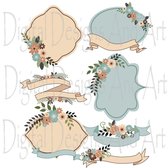 Rustic Flowers Clipart, Rustic Wedding Clipart, Flower