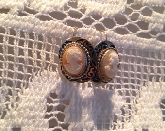 Oval Cameo Earrings with French Wire