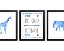 Safari Nursery Nursery Art, Giraffe Nursery Art, Blue And Gray Elephant Nursery Decor, Nursery Quote, Be Kind Be Brave - AS37