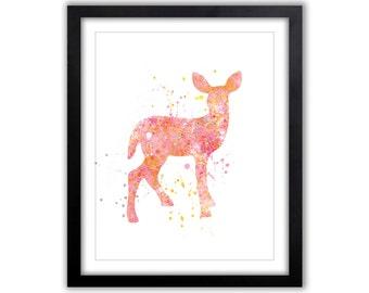 Watercolor Deer, Nursery Art, Woodland Nursery, Pink and Orange, Baby Girl, Children's Room, Art, Kids Art, WA072