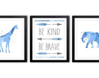 Safari Nursery Nursery Art, Giraffe Nursery Art, Blue And Gray Elephant Nursery Decor, Nursery Quote, Be Kind Be Brave - AS37
