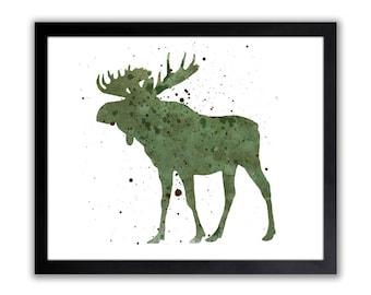 Moose Watercolor Art Print - North American Animal Decor - Moose Art Print - Hunters Wall Art - WA035