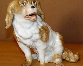 Augustus Rex Meissen Cavalier King Charles Spaniel Porcelain Figurine Ceramic Dog
