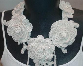 Necklace Accessories,Handmade Crochet Flower Necklace ,Cream Color