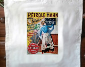 Vintage French advert retro cotton cream tote bag No3