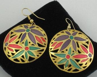 Exotic Bright Floral BEREBI Dangle Disc Earrings; Big Pierced Glowing Enameled Flowers
