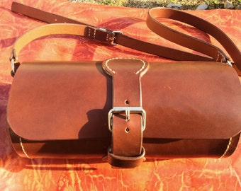 Bag cylinder in genuine leather, handmade in France by Koffpolo